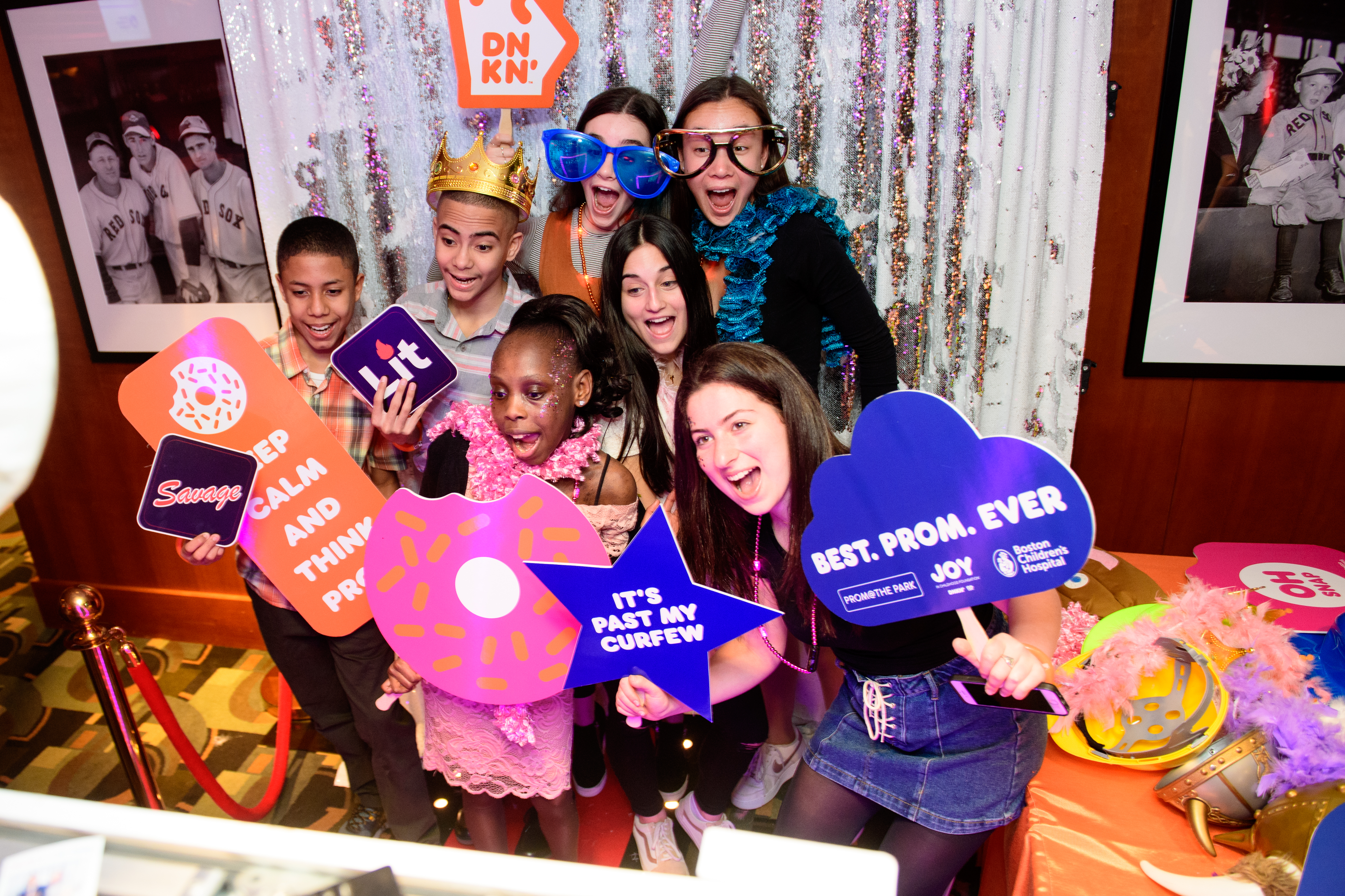 BCH patients gather in a photo booth to create a prom memory.